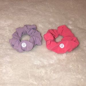 TWO Lululemon Scrunchies (pink and lavendar)